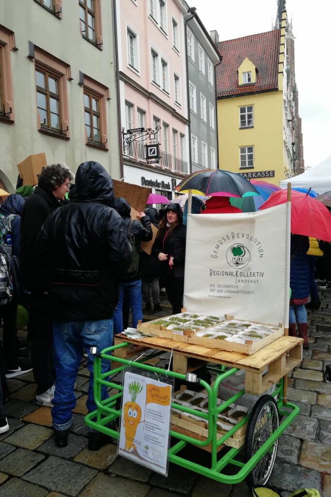 Ein Lastenfahrrad, geschmückt als Gemüsemobi, bei Regen auf einer