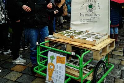Ein Lastenfahrrad, geschmückt als Gemüsemobil. Darauf ein Brett mit Pappschalen voll Kressepflänzchen.